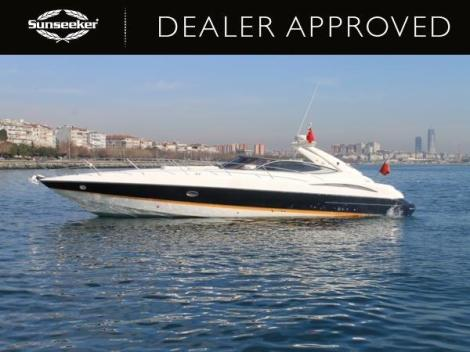 "The Sunseeker Superhawk 48 ""DOLLY P"" is fitted with triple Yanmar engines powering her to 40 knots"