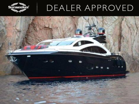 """The notorious (in a good way) Sunseeker Predator 84 """"BLACK KNIGHT"""" will take centre stage at the Sunseeker Yacht Show"""