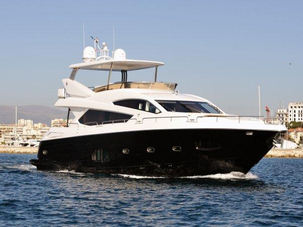 "The 80 Yacht ""LADY LAURA OF LONDON"" is one of two Sunseeker motor yachts on display with Sunseeker France"