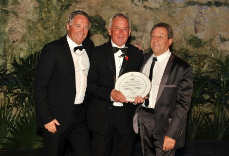 Sunseeker London's Sales Director Christopher Head (L), pictured with business partner and Managing Director David Lewis (R) and Sunseeker Group President Robert Braithwaite