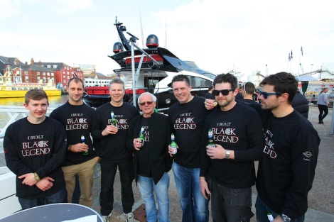 """I BUILT BLACK LEGEND"": Build crew members relax with a hard earned beer!"