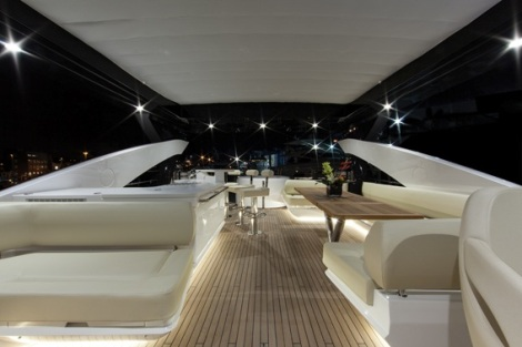 Guests of Sunseeker Monaco will enjoy a sumptuous viewing platform from the Sunseeker 28 Metre Yacht's flybridge