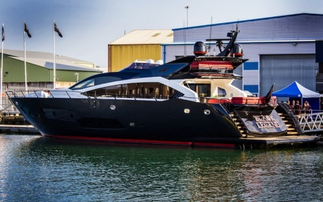 "The Sunseeker 101 Sport Yacht ""BLACK LEGEND"" at her Build Party last week"