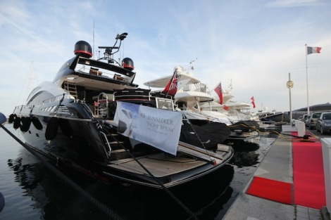 "The Sunseeker Predator 84 ""BLACK KNIGHT"" is moored in Golfe Juan and was viewable at the Captains Party"