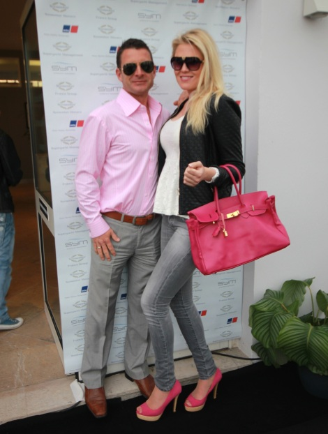 """Paul Drissell and Hanna Vallberg of Sunseeker 28 Metre """"HIGH ENERGY"""" picutred at the Sunseeker Captains Party"""