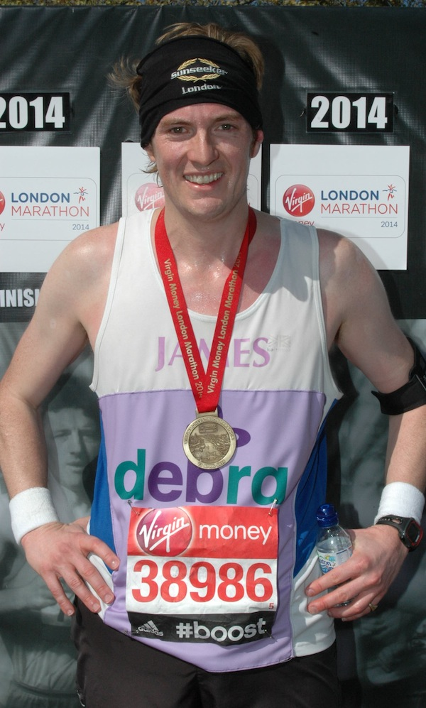 James Baker completed the London Marathon in 4 hours and 38 minutes for national charity DEBRA