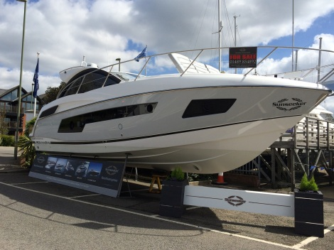 Pride of place: The grey-hulled Sunseeker Portofino 40 on display at Sunseeker Southampton