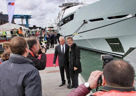 Roberth Braithwaite CBE and Eddie Jordan at the launch of the 155 Yacht in Poole last week