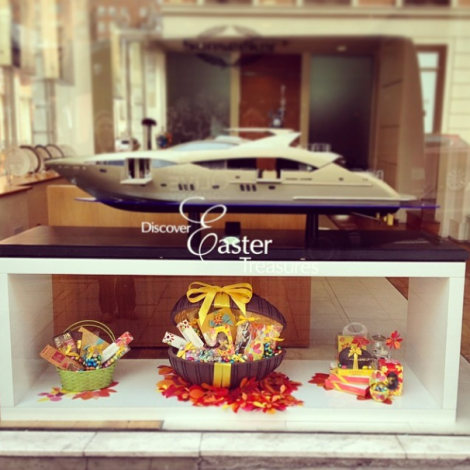 Luxury chocolatiers Godiva and Sunseeker London have teamed up to create a very special window display in celebration of Easter