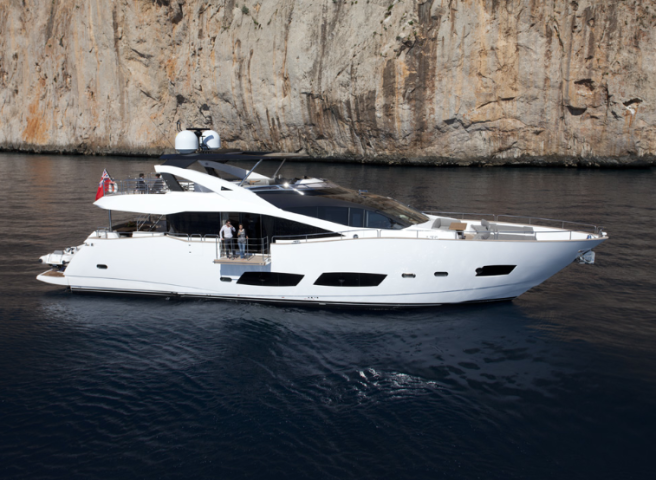 The first Sunseeker 28 Metre Yacht to be based in Ibiza will shortly be completed at the shipyard in Poole