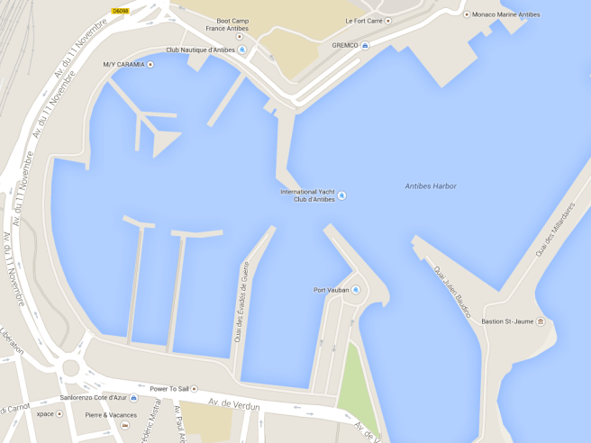 The Sunseeker France vessels are located along the outside wall of Port Vauban, on Quai Julien Baudino, berth C16