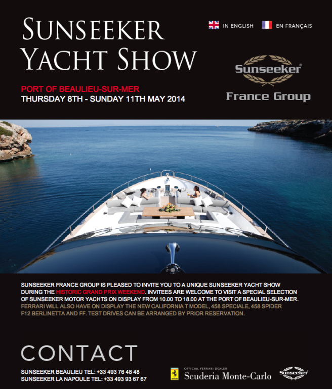 The Sunseeker Yacht Show will take place to co-incide with the Monaco Historic Grand Prix, opening a day ahead of the racing on May 8th