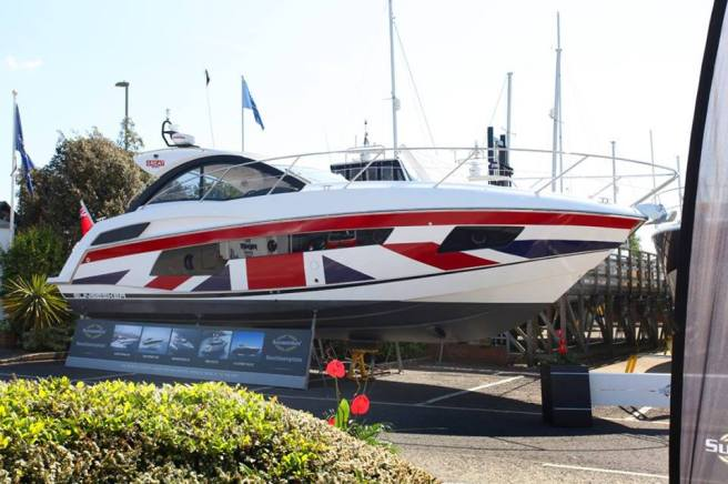 This unique Union Jack wrapped Sunseeker Portofino 40 will be on display at the Open Weekend at Parkstone Bay Marina