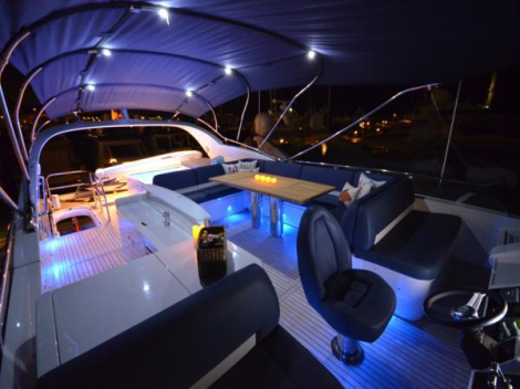 """""""AMATRIX"""" features an extensive specification, which includes the flybridge hot tub option"""