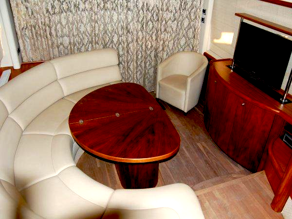 "With a Satin Walnut finish, the interior of the Predator 52 ""NERO"" is smooth and sleek throughout"