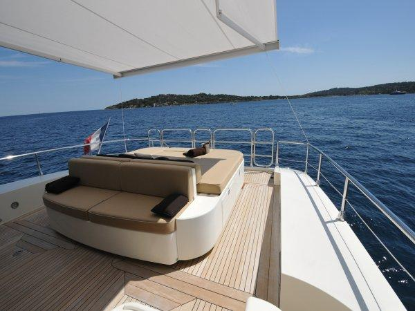 """The aft cockpit of the Leopard 27M Open """"NAISCA IV"""" lends itself perfectly to al fresco dining and sunbathing"""