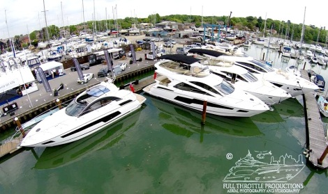 The Sunseeker display at the British Motor Yacht Show in Swanwick, Southampton includes a Portofino 40, San Remo, Manhattan 55, Manhattan 55, 68 Sport Yacht and 80 Sport Yacht