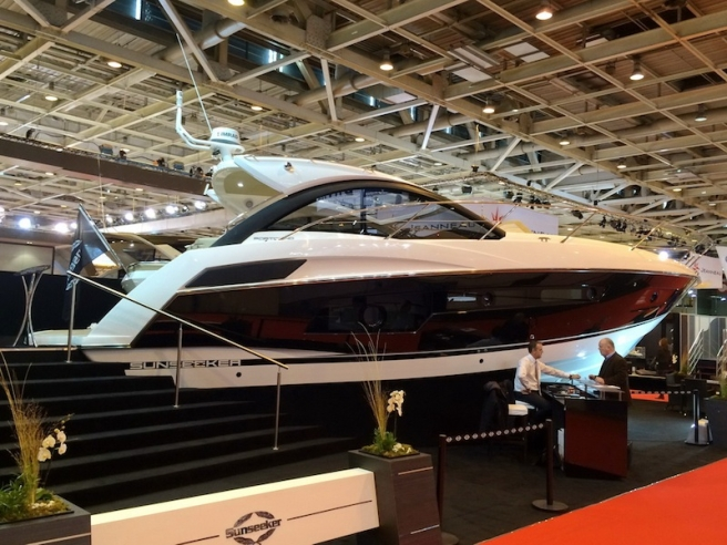 Sunseeker Cannes have confirmed the sale of this stunning black-hulled Portofino 40, pictured here at the Paris Boat Show