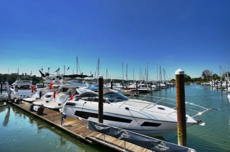 The Sunseeker display at the British Motor Yacht Show ranged from a Portofino 40 through to a 80 Sport Yacht