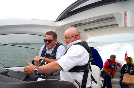 Getting familiar: Guests of the MBY VIP day had the opportunity to get behind the wheel of the Sunseeker San Remo on the Solent