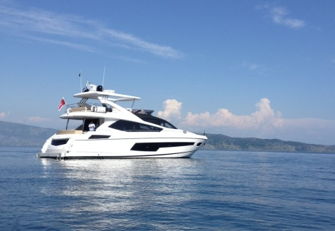 """The Sunseeker 75 Yacht """"FINEZZA"""" was sold at the London Boat Show by Sunseeker Hellas, which oversaw her delivery to Corfu this month"""