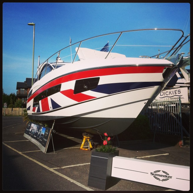 The range of Sunseeker boats on display at the British Motor Yacht Show this weekend includes this head-turning Union Jack Portofino 40, wrapped as part of the GREAT Britain campaign with Sunseeker International