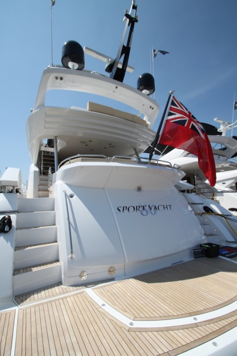 One of the largest boats on display at the show, the 80 Sport Yacht was a popular addition to the Sunseeker range over the weekend