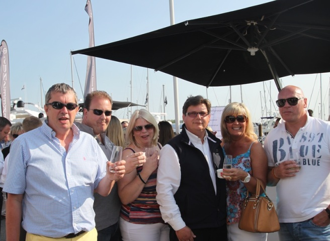 Sunseeker clients enjoyed the opportunity to look over a selection of yachts in their natural habitat, complete with British sunshine!