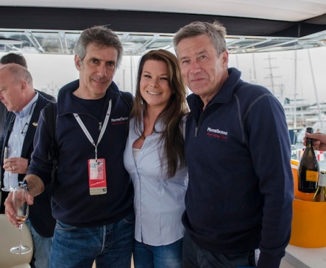 Guests onboard included the likes of racing great Tiff Needell (R), pictured with Sunseeker London's Lizzie Trott and Paolo Barilla (L), the eventual winner of the classic F3 race on Sunday