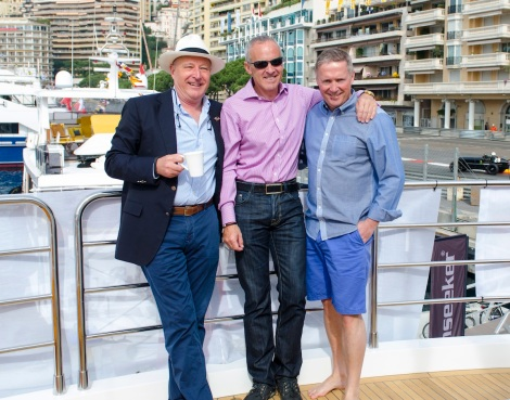 Sunseeker Monaco's Nigel Bristow (L), Sunseeker Charters' Stefan Wertans (M) and Sunseeker London's Christopher Head (R) enjoyed the relaxed atmosphere of the Monaco Historic Grand Prix weekend