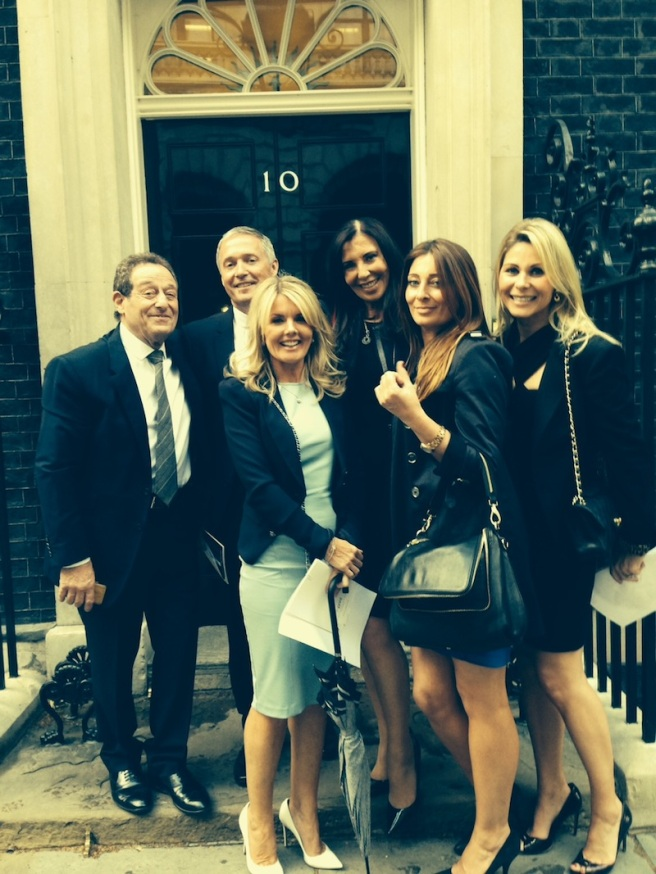 David Lewis, Christopher Head, Lorraine Head, Alexis Lewis, Victoria Gerlis and Nicola Butler pictured attending the U Support reception at 10 Downing Street on behalf of Sunseeker London