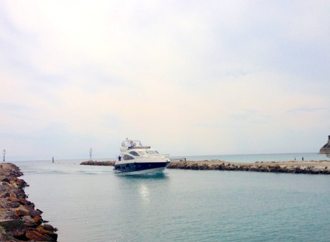 """The Sunseeker Manhattan 60 """"MAKAANA"""" is pictured arriving at Sani Marina, where a wonderful line up of Sunseeker yachts from 48-75ft are currently moored"""