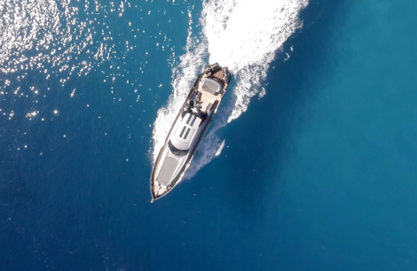 "CAVORT use aerial imagery and film with drones to capture breathtaking videos and stills, as seen here with the Sunseeker Predator 108 ""MURCIELAGO"""