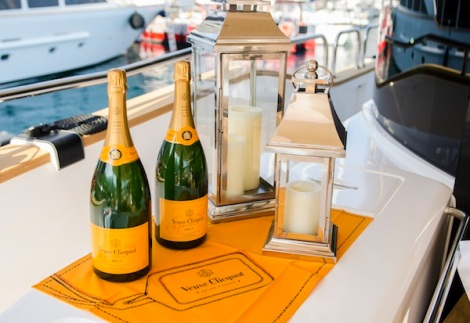 Veuve Cliquot was flowing at Ferrari Scuderia Monte Carlo's VIP party onboard the Sunseeker 28 Metre Yacht on the Friday evening