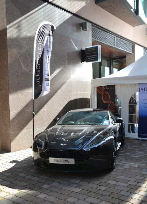 This Aston Martin Vantage V12 was on display at the Sunseeker Channel Islands office