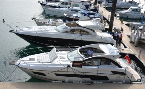 Moored just adjacent to the Sunseeker Channel Island premises, the Portofino 40 and Portofino 48 were available for guests to view