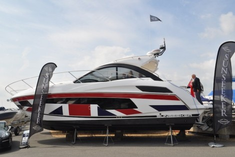 The GREAT Sunseeker Portofino 40 generated significant interest at the Parkstone Bay Marina, where the Union Jack clad hull certainly took centre stage