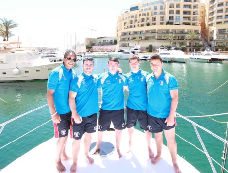 Members of the BARLA Emerging Lions joined Sunseeker Malta for a photo shoot onboard the San Remo 485 in Portomaso