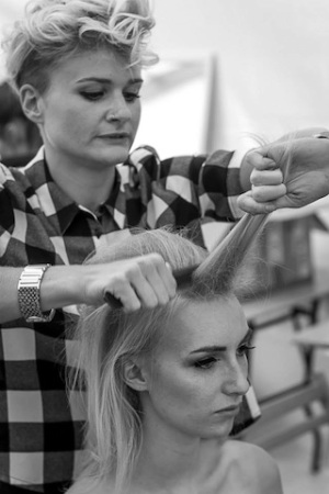 Dune Hair & Beauty's stylists hard at work for the British Beach Polo Championship fashion show