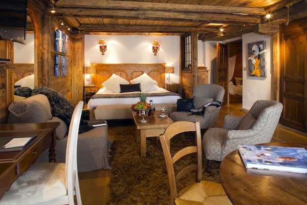 The rooms at Le Chabichou are full of alpine character, with luxurious comforts and cosy decoration