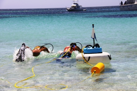 The PowerSnorkel in action - perfect for days out on the beach or water