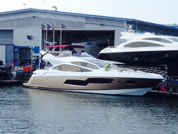 The gold-hulled Sunseeker 80 Sport Yacht in bound for her new owner in the South of France