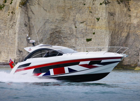 The Sunseeker Portofino 40, pictured here during a photoshoot for the GREAT Britain campaign, represents some of the best of UK boating