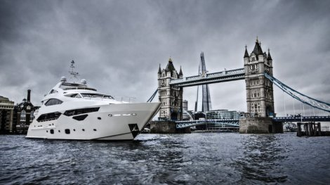 This 40 Metre Yacht, seen here on London's Thames River, is bound for the Mediterranean having been sold by Sunseeker Poole