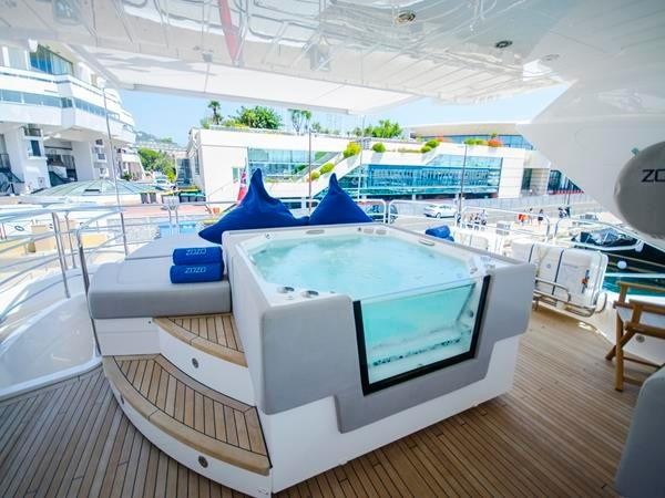 "Boasting numerous extras, the 115 Sport Yacht ""ZOZO"" features the highly desirable flybridge jacuzzi option"