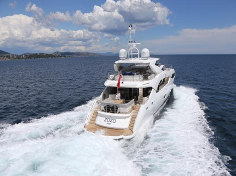 """With an extensive specification and customised interior, """"ZOZO"""" is one of the finest examples of the iconic 115 Sport Yacht / Predator model"""