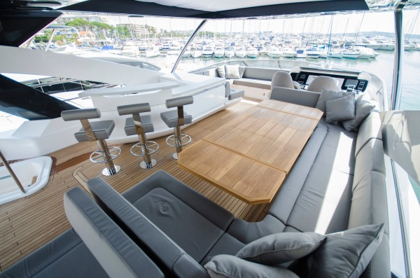 The 86 Yacht features large flybridge with sociable seating layout