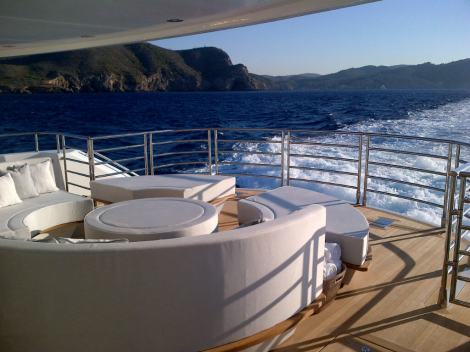 """Exterior spaces on board """"THUMPER"""" are bespoke, will all seat mouldings being redesigned for her discerning Sunseeker Owner"""