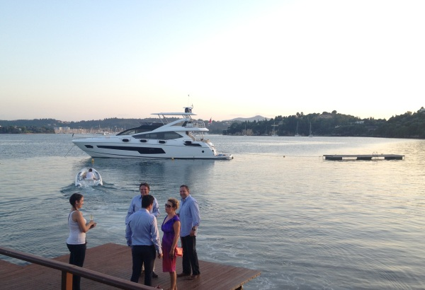 "Sunset in Corfu guests were taken onboard the 75 Yacht ""FINEZZA"" by tender, enjoying a true Sunseeker experience"