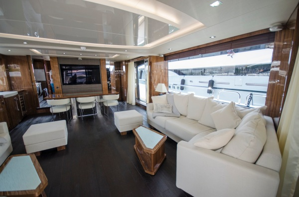 The Saloon has a large yacht feel, with full length glazing to filter plenty of natural light to the interior